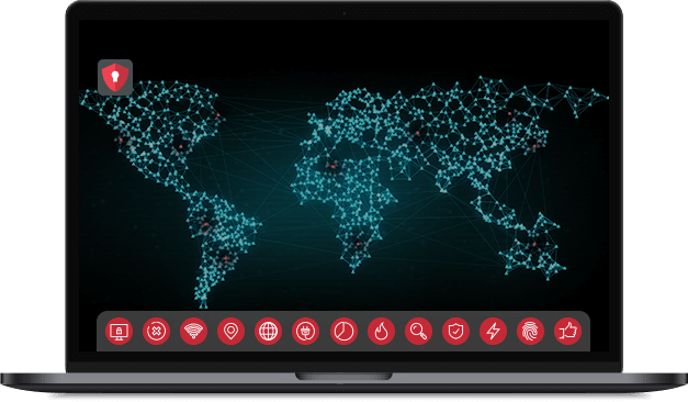 Laptop with map of internet hotspots across the the globe