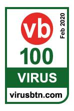 Virus Bullitin 100 Badge